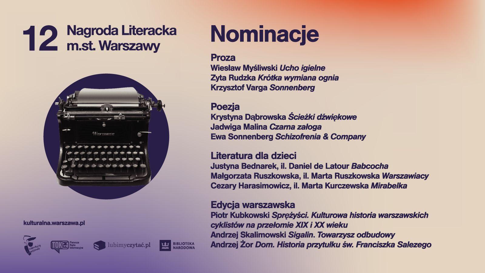 Zdjęcie przedstawia maszynę do pisania oraz tytuły książek nominowane do nagrody literackiej