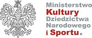 Logotyp Ministerstwa Kultury, Dziedzictwa Narodowego i Sportu - z lewej strony symbol graficzny orła, s prawej nazwa ministerstwa