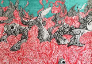 Zdjęcie przedstawia obraz narysowany cienkopisem. Jest nieco abstrakcyjny, przedstawia ni to ryby, ni to stwory w morzu.