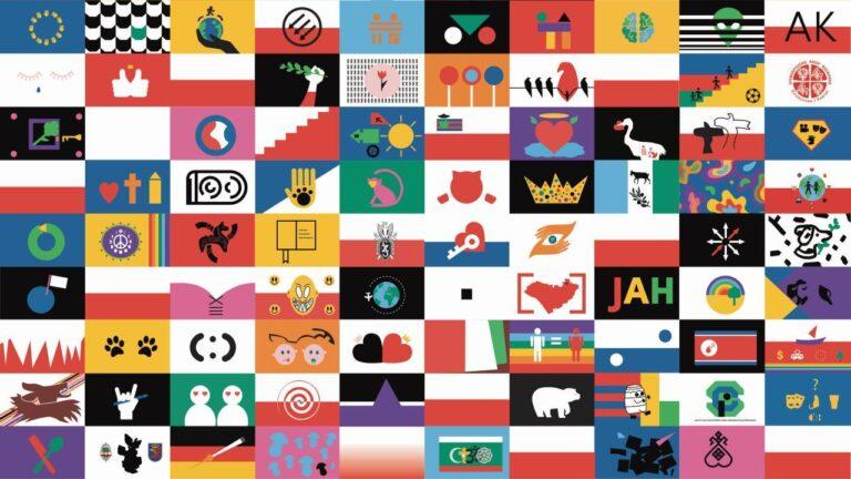 Zdjęcie przedstawia grafikę złożoną z miniatur flag.