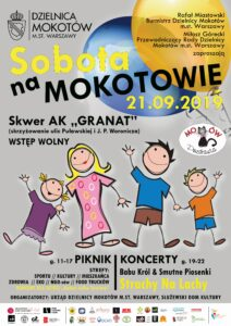 Zdjęcie przedstawia plakat imprezy plenerowej Sobota na Mokotowie