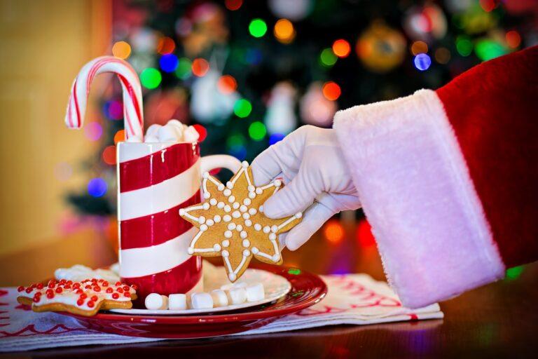 Zdjęcie przedstawia rękę świętego Mikołaja, która trzyma ciastko w kształcie gwiazdki