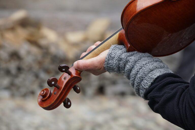 Zdjęcie przedstawia rękę trzymająca skrzypce