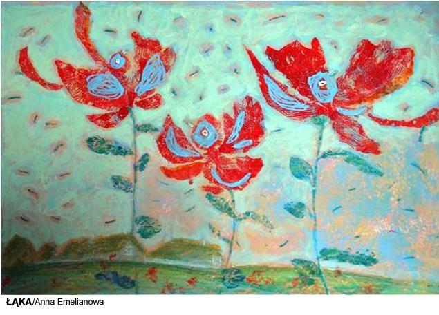 Malarstwo - łąka, na łące trzy duże kwiaty.