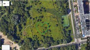 Zdjęcie satelitarne terenów zielonych na osiedlu Siekierki