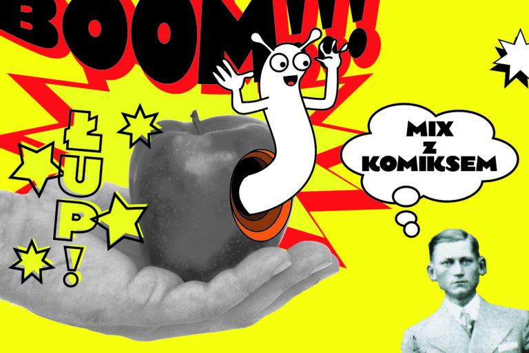 Grafika komiksowa: na dłoni jabłko, z jabłka wychodzi robak, obok zdjęcie mężczyzny z chmurką dialogową