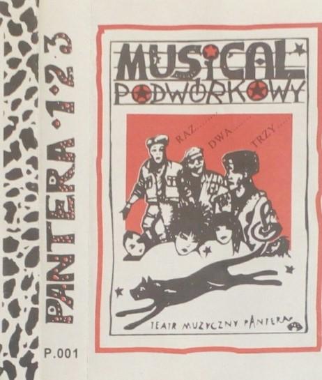 Plakat spektaklu: Musical podwórkowy w wykonaniu Teatru Muzycznego Pantera. W ramce narysowane postacie 3 chłopaków, przed nimi głowy trzech dziewcząt, a przed nimi sylwetka pantery.