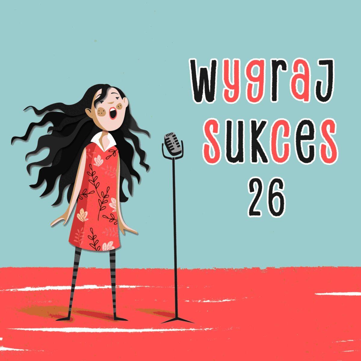 Grafika konkursu piosenki Wygraj Sukces - narysowana postać dziewczyny z długimi rozwianymi włosami przed mikrofonem