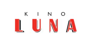 """napis kino LUNA. słowo """"łuną"""" zapisane dużymi czerwonymi literami, nad tym napisem napis kino"""