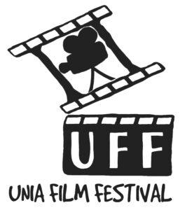 logotyp Unia Film Festival.Klaps z planu filmowego, który w górnej części ma symbol kamery